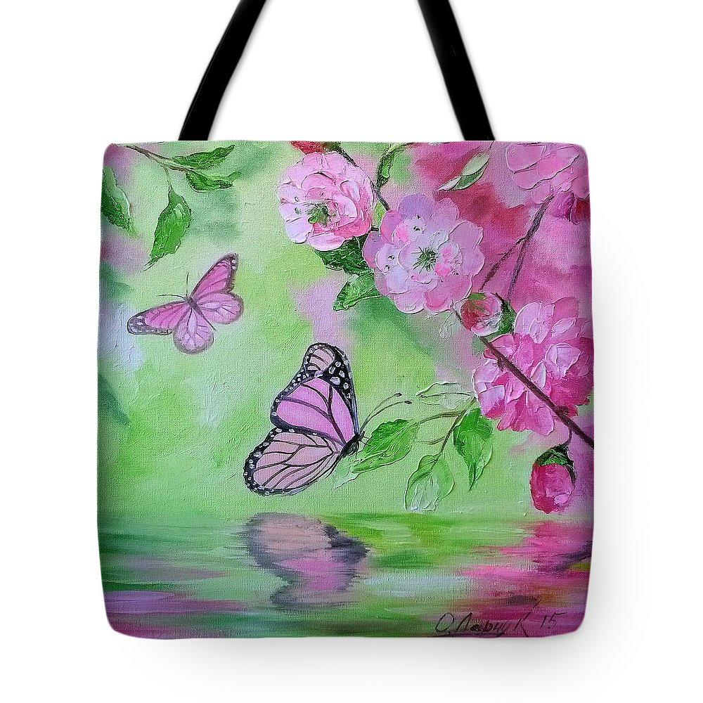 Butterflies Tote Bag featuring the painting Butterflies by Olha Darchuk