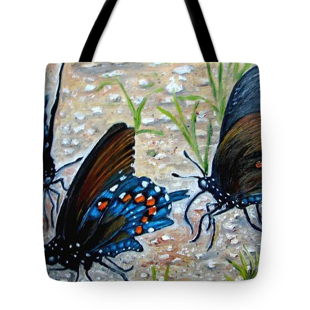 Butterfly Tote Bag featuring the painting Butterflies Original Oil Painting by Natalja Picugina