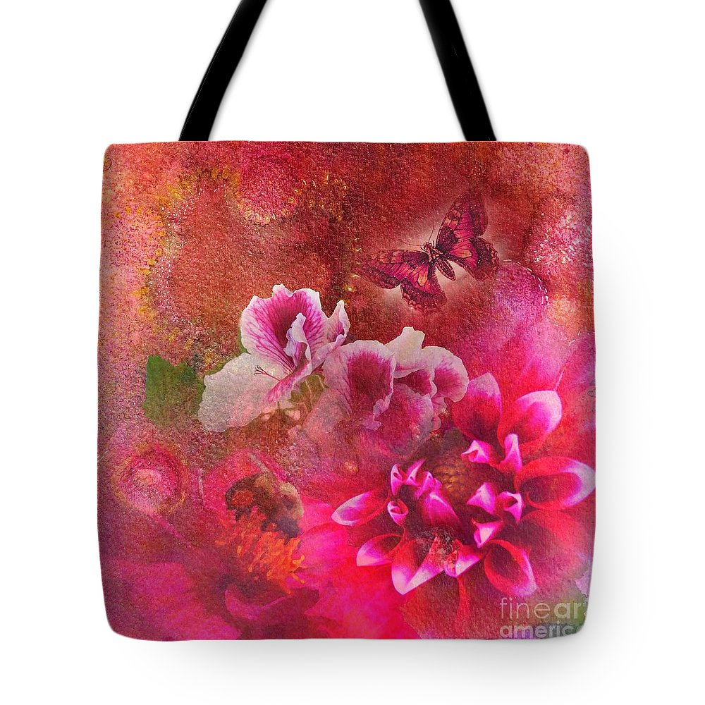 Contemporary Art Tote Bag featuring the painting Butterfly And Bee by Desiree Paquette