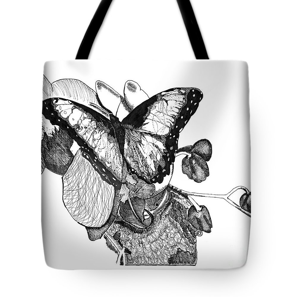 Pen & Ink Tote Bag featuring the drawing Butterfly And Orchids by Jessica Coulter