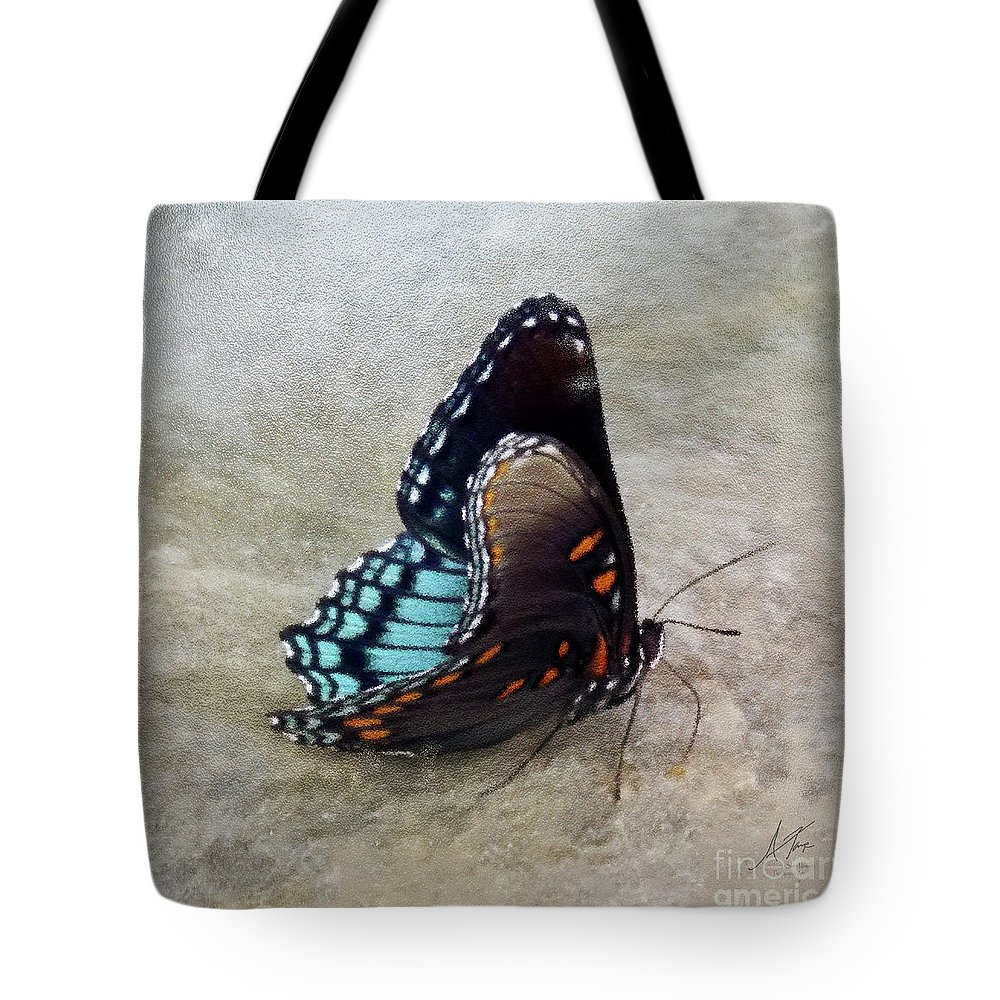 Butterfly Blue On Groovy 2 Tote Bag featuring the photograph Butterfly Blue On Groovy 2 by Anita Faye