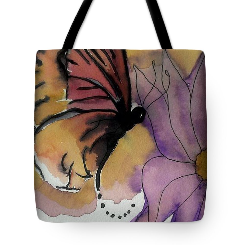 Butterfly Tote Bag featuring the painting Butterfly Collecting by LKB Art and Photography