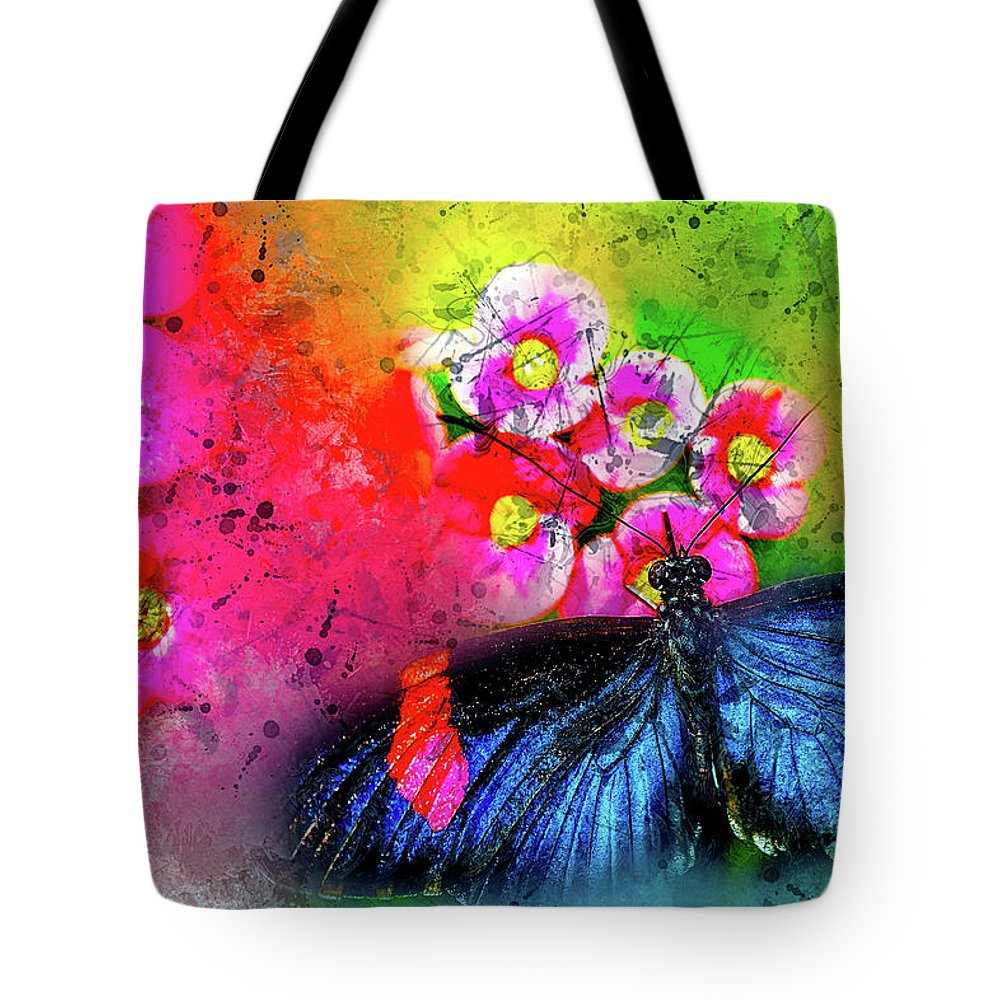 Abstract Tote Bag featuring the photograph Butterfly Color Explosion by Kay Brewer