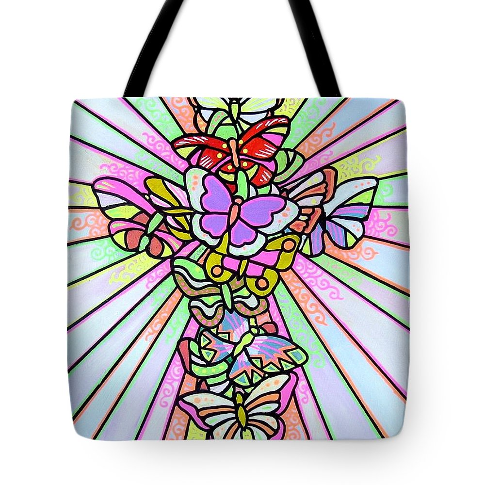 Cross. Easter Tote Bag featuring the painting Butterfly Cross by Jim Harris