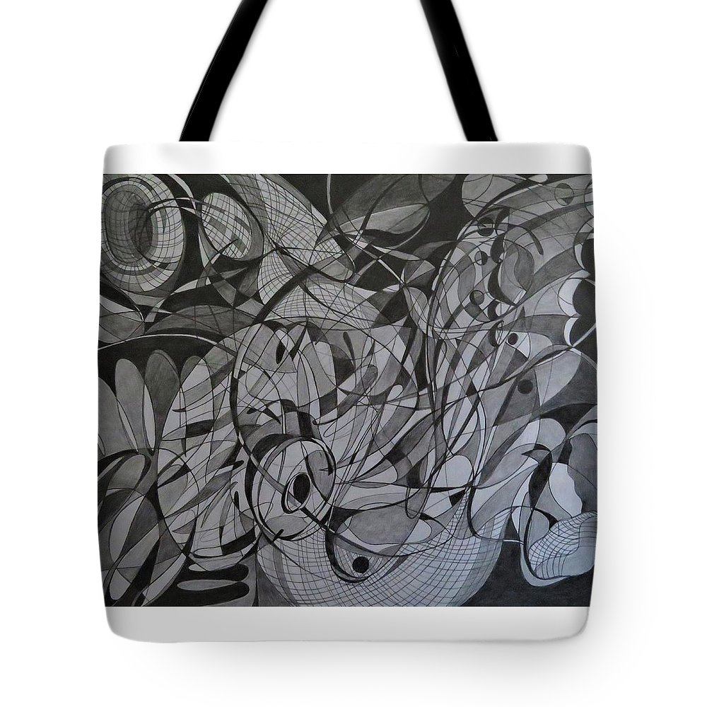 Line Abstract Tote Bag featuring the drawing Butterfly Effect by Natalia Leigh
