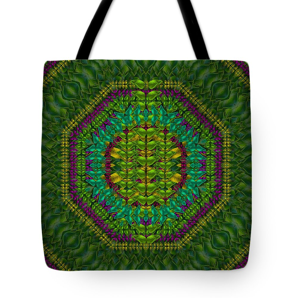 Butterfly Tote Bag featuring the mixed media Butterfly Flower Jungle And Full Of Leaves Everywhere by Pepita Selles