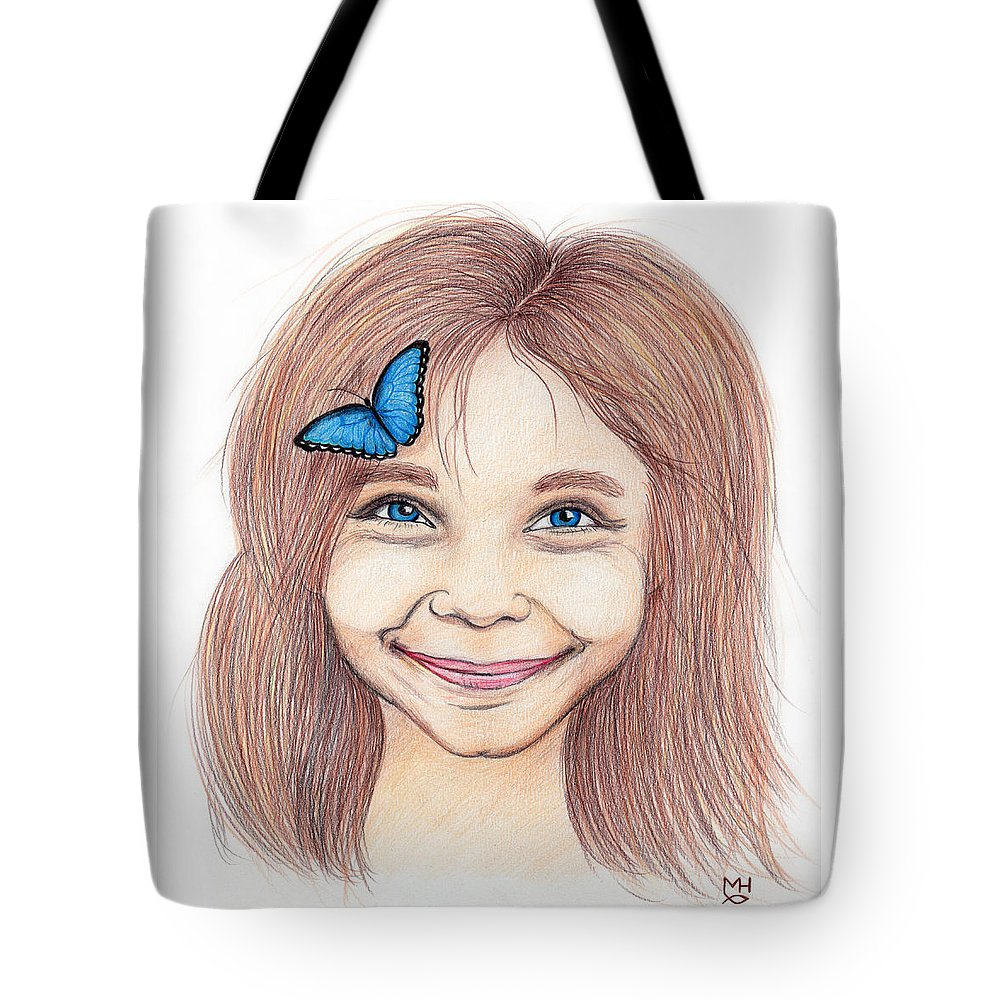 Girl Tote Bag featuring the drawing Butterfly Girl by Marilyn Hilliard
