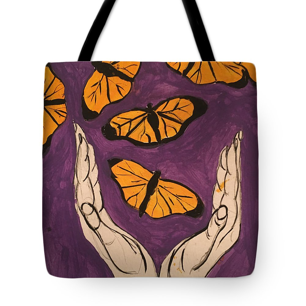 Butterfly Tote Bag featuring the painting Butterfly Glory by B C