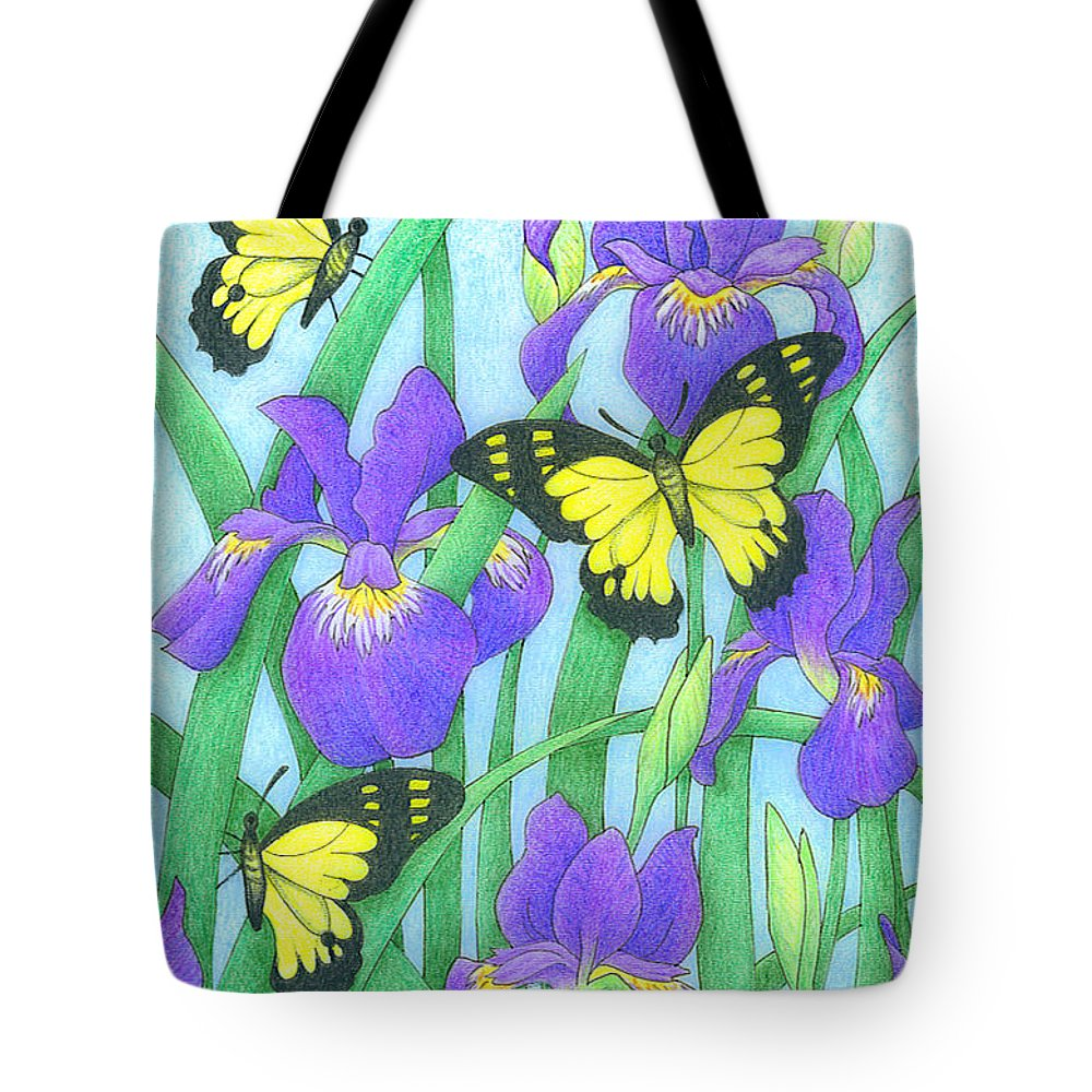 Nature Tote Bag featuring the drawing Butterfly Idyll-irises by Alison Stein