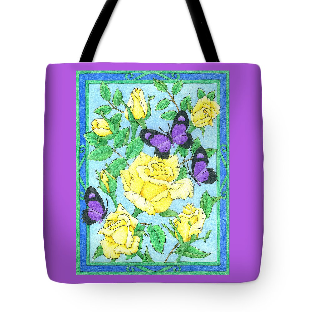 Flower Tote Bag featuring the drawing Butterfly Idyll-roses by Alison Stein
