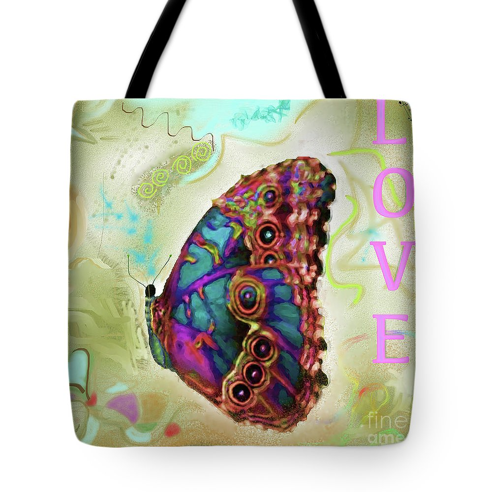 Butterfly Tote Bag featuring the digital art Butterfly In Beige And Teal by Shelly Tschupp