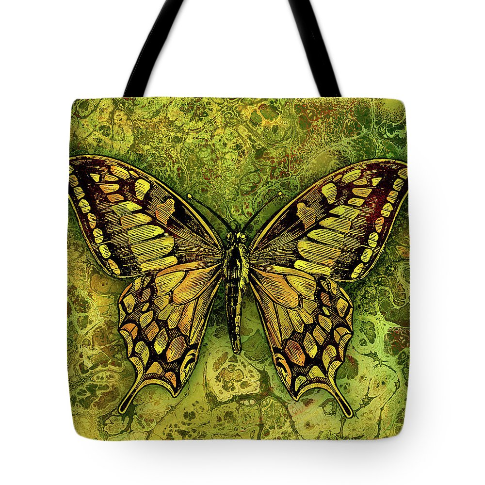 Butterfly Tote Bag featuring the digital art Butterfly In Greens-amber Collection by Grace Iradian