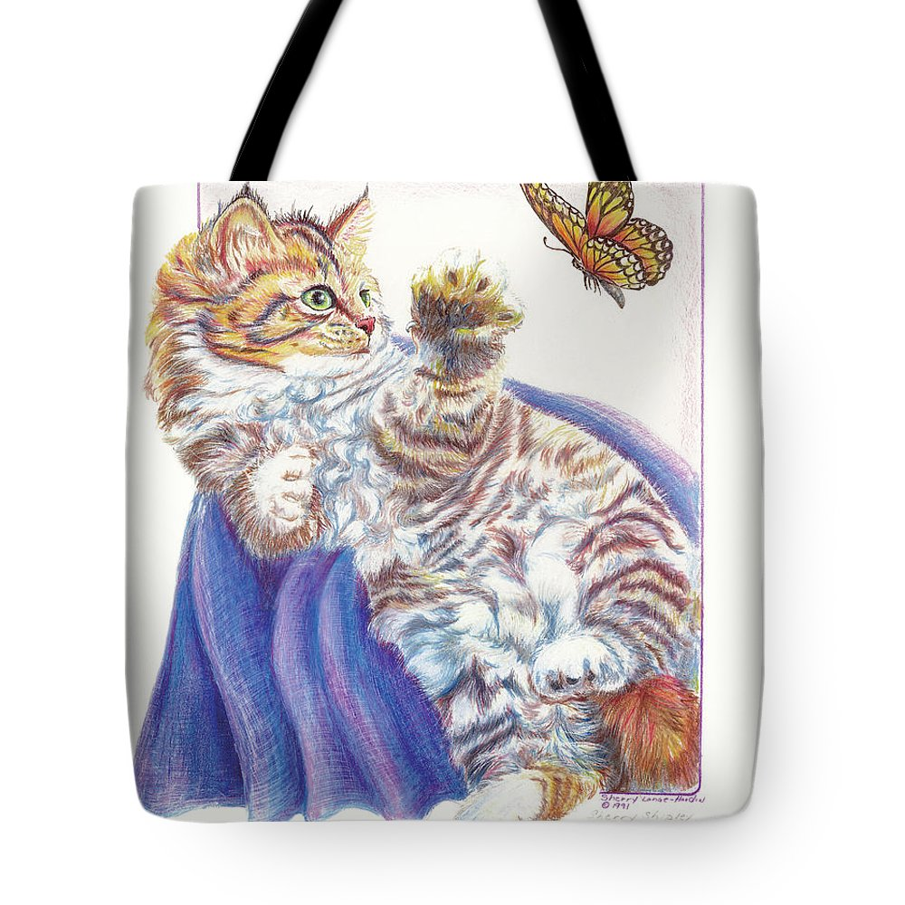 Cat Tote Bag featuring the drawing Butterfly Kitten by Sherry Shipley