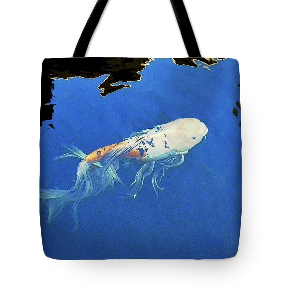 Koi Tote Bag featuring the photograph Butterfly Koi In Blue Sky Reflection by Kirsten Giving