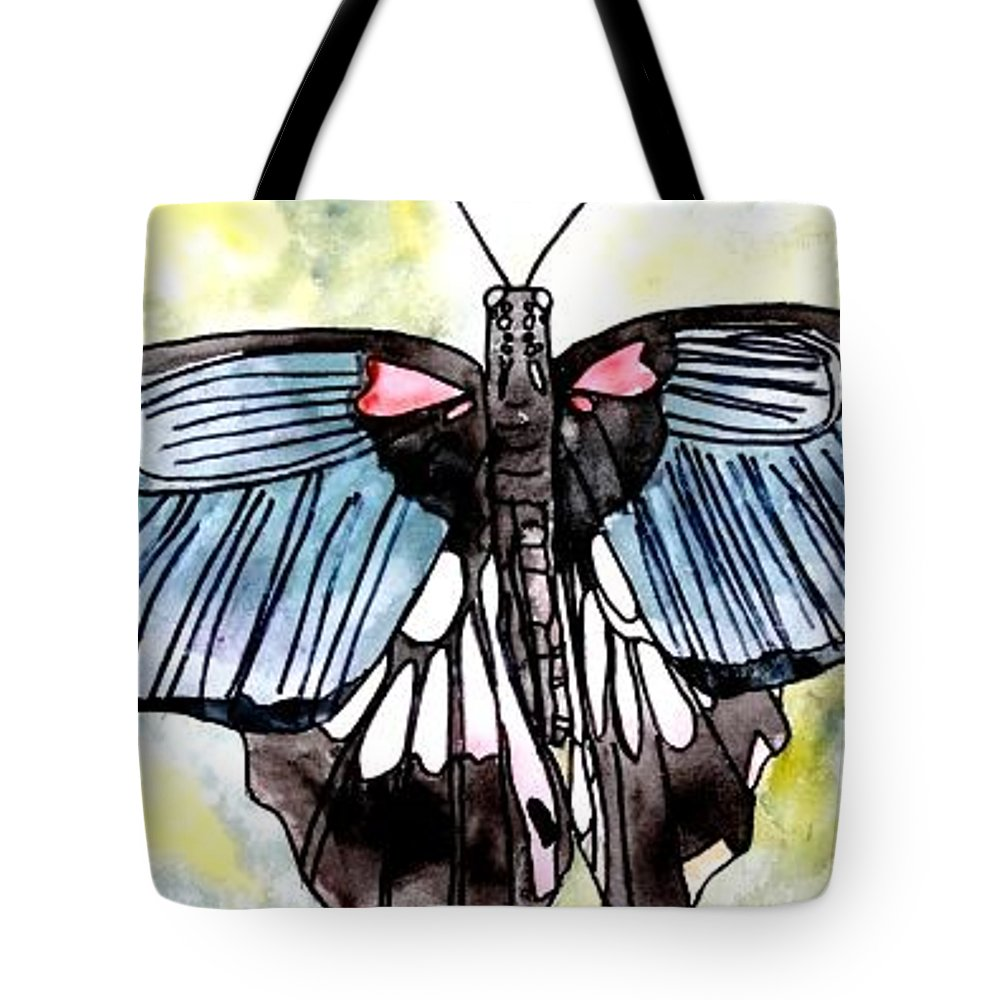 Watercolor Tote Bag featuring the painting Butterfly Macro by Derek Mccrea