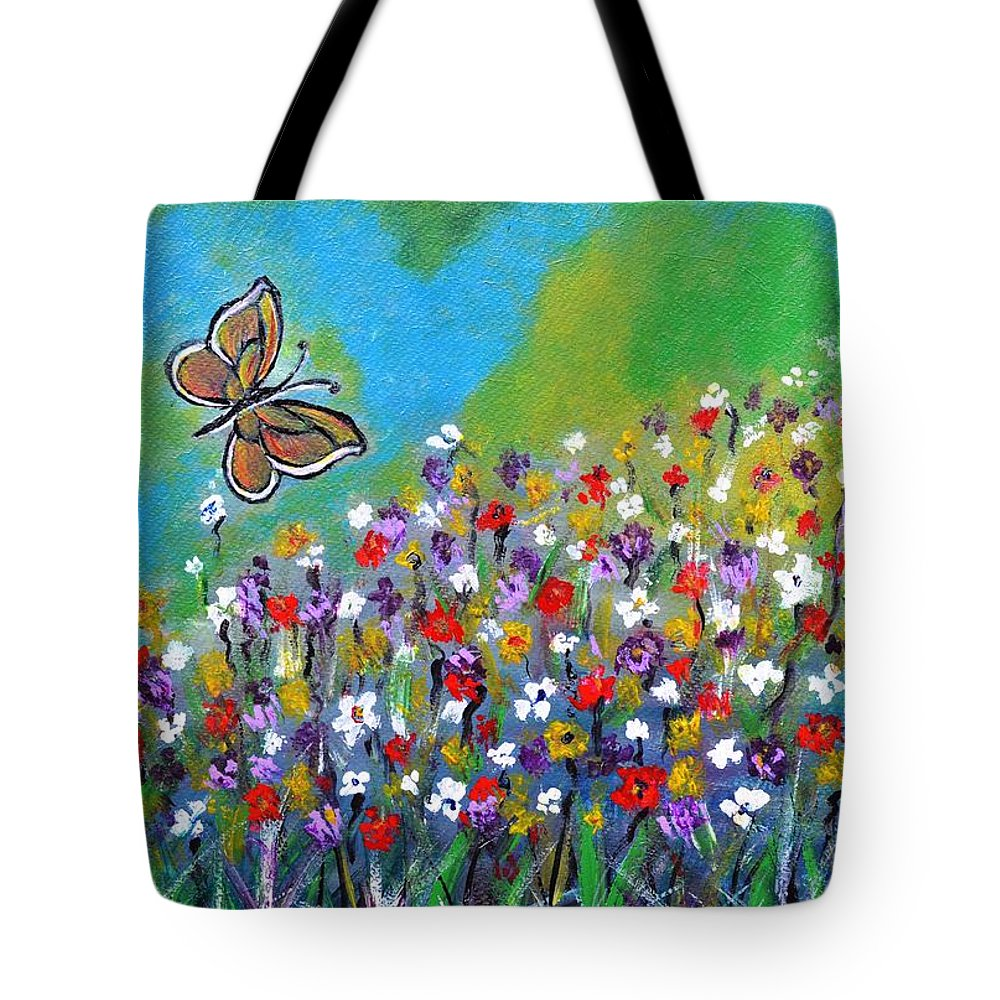 Butterfly Tote Bag featuring the painting Butterfly Meadow by Manjiri Kanvinde