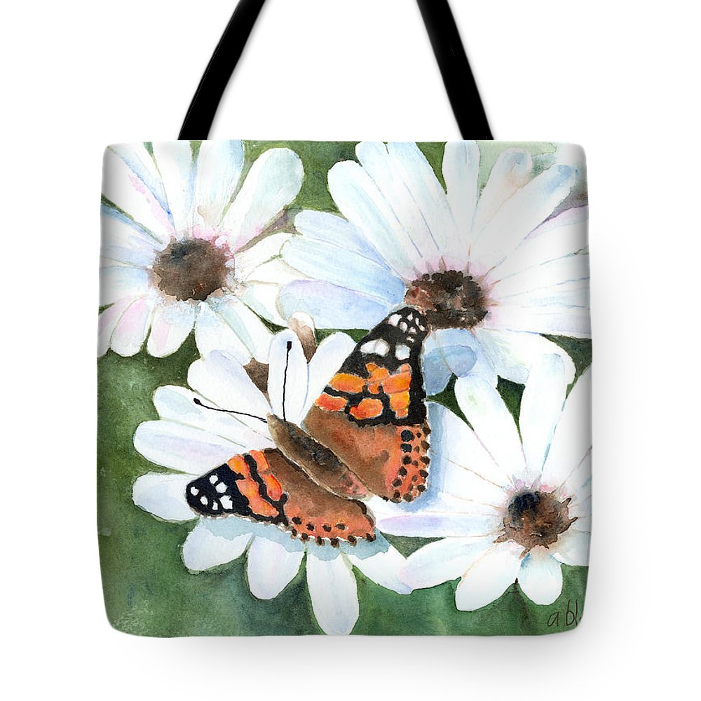 Butterfly Tote Bag featuring the painting Butterfly On A Daisy by Arline Wagner