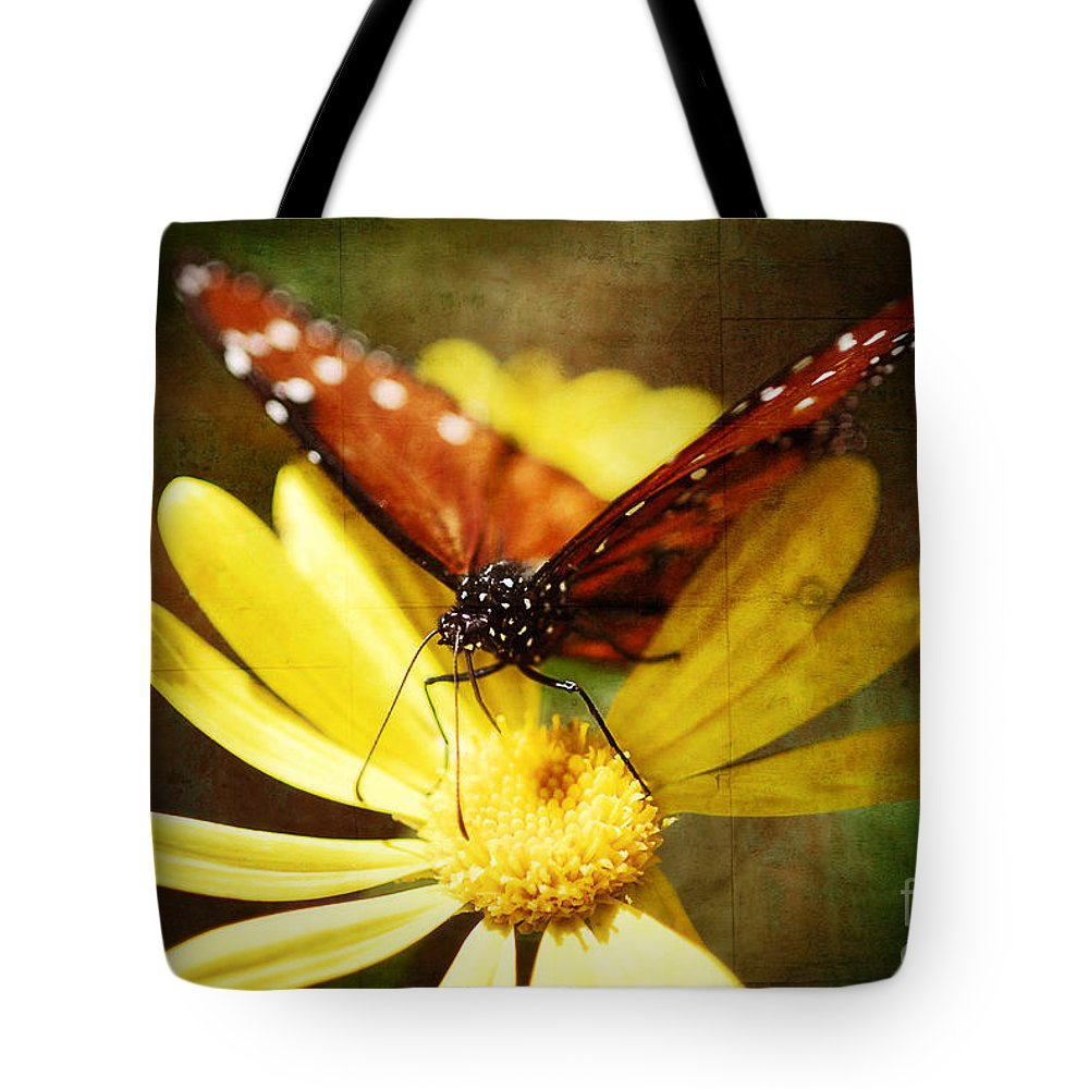 Butterfly Tote Bag featuring the photograph Butterfly On A Daisy by Saija Lehtonen
