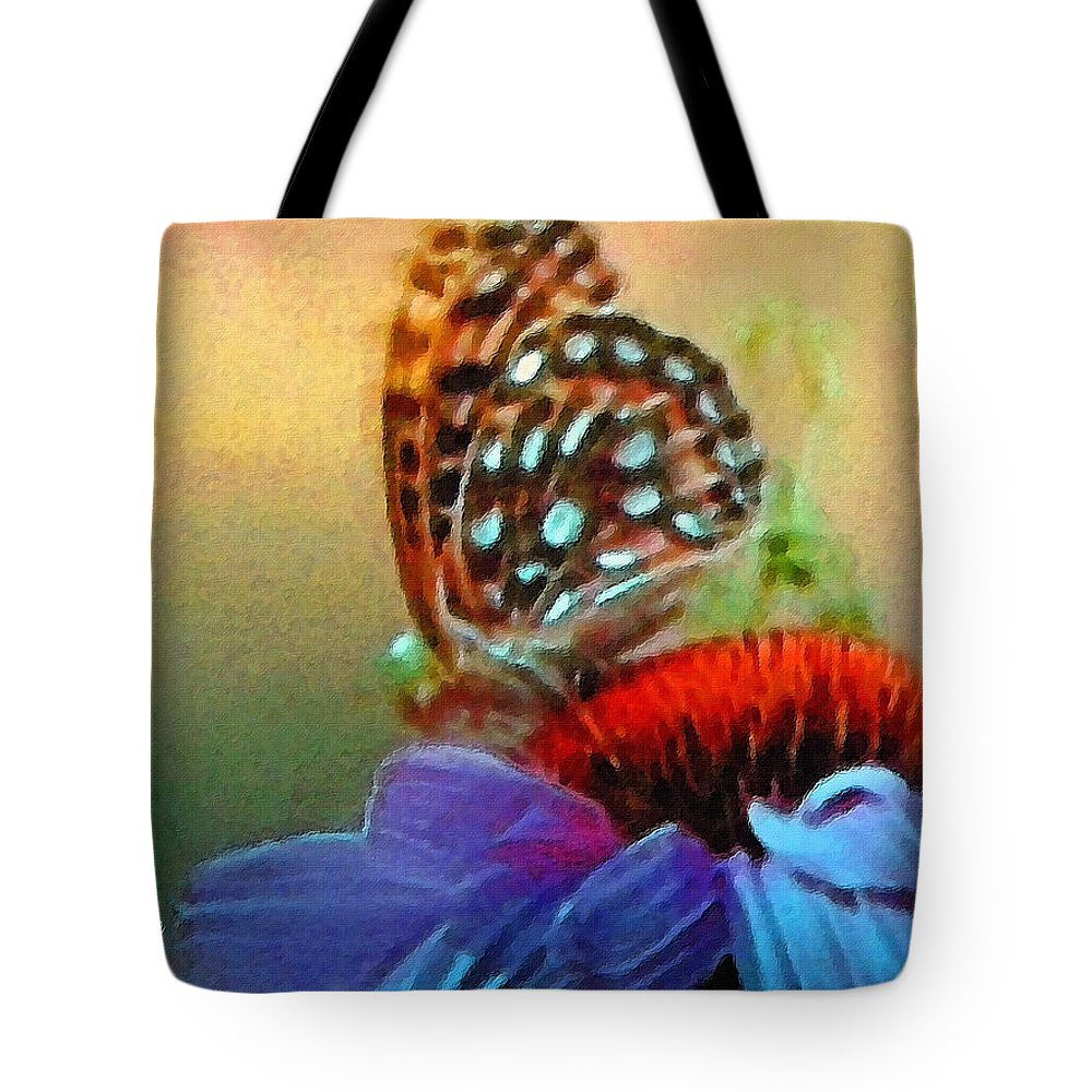 Butterfly Tote Bag featuring the painting Butterfly On A Flower by Susanna Katherine