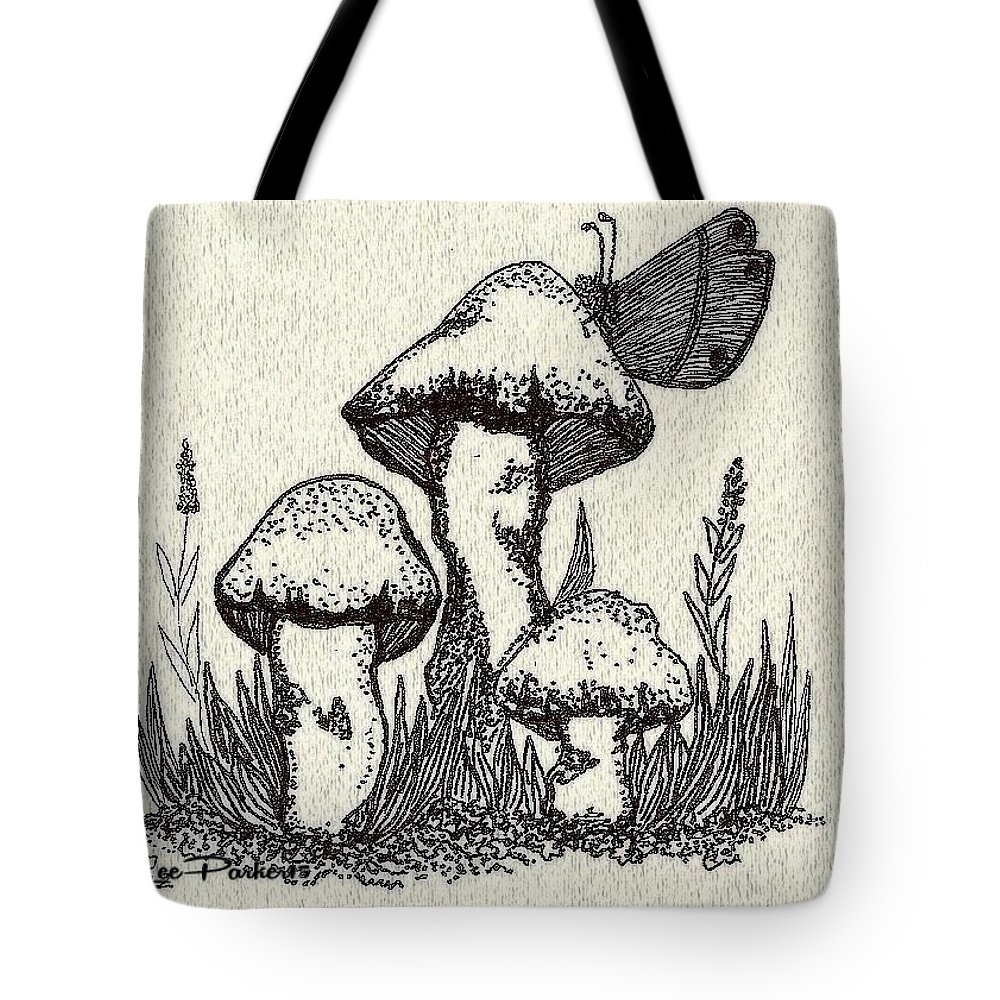 Mushrooms Tote Bag featuring the mixed media Butterfly On Mushrooms by MaryLee Parker