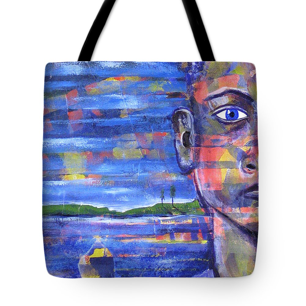 Face Tote Bag featuring the painting Butterfly On My Shoulder by Rollin Kocsis