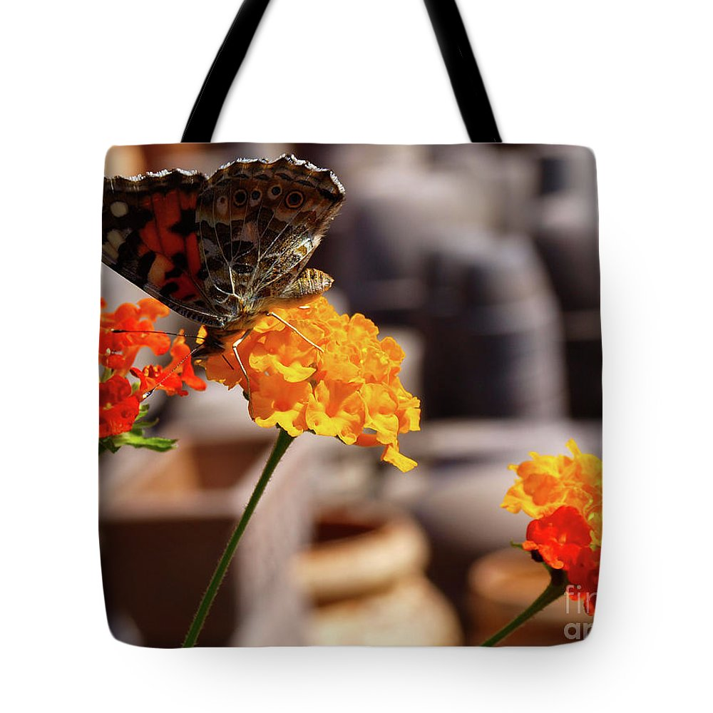Butterfly Tote Bag featuring the photograph Butterfly On Yellow Flower by Mary Papadopoulou