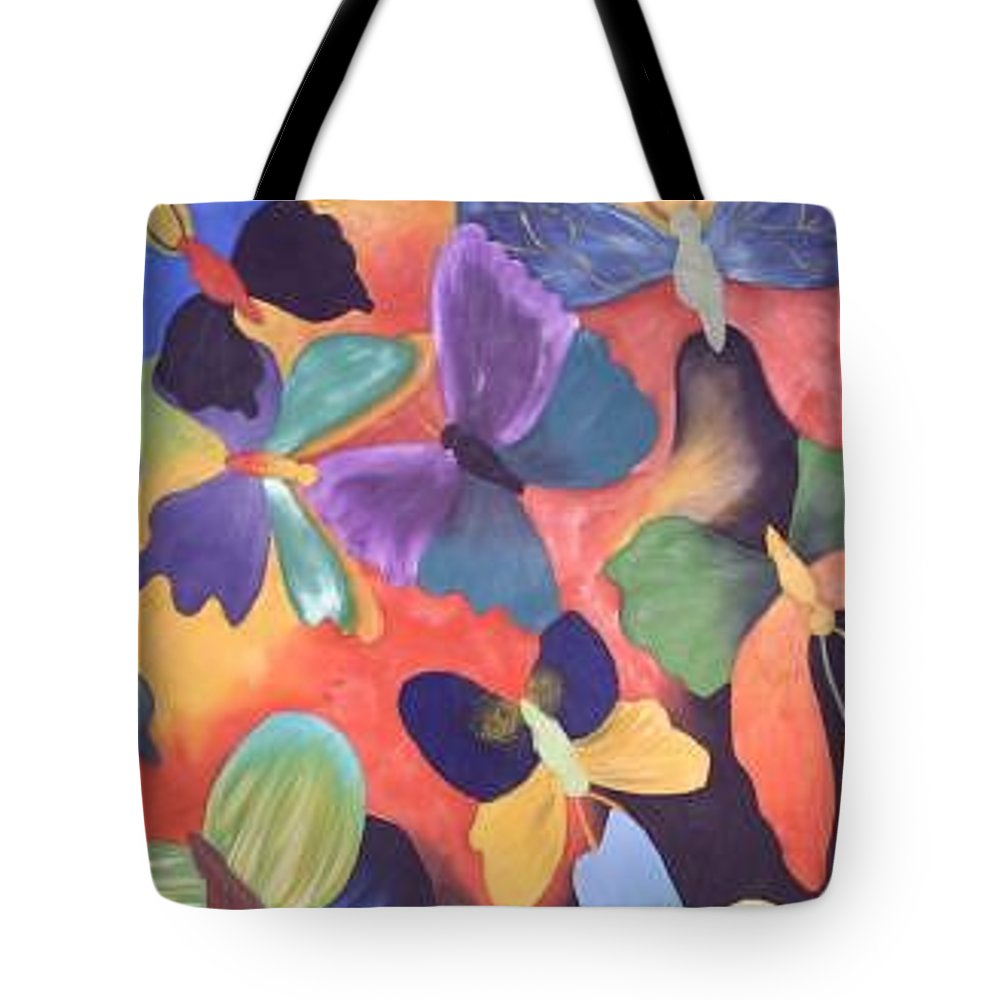 Butterfly Painting With Focus On Colors Tote Bag featuring the painting Butterfly Painting by M Brandl