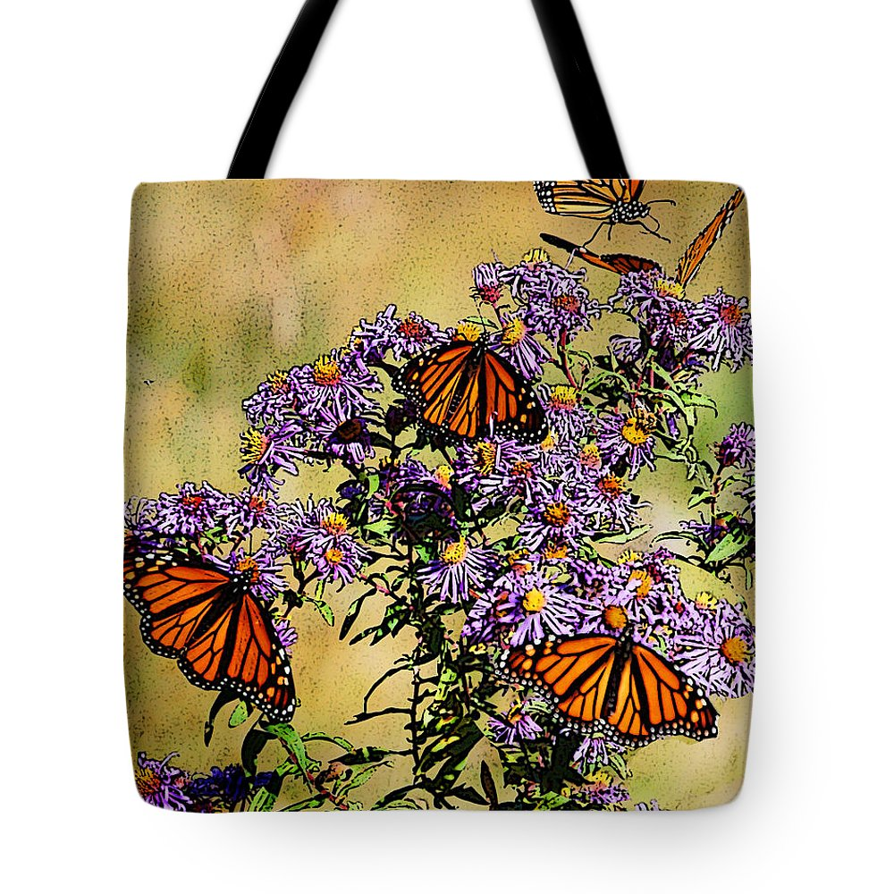 Diane Berry Tote Bag featuring the drawing Butterfly Party by Diane E Berry