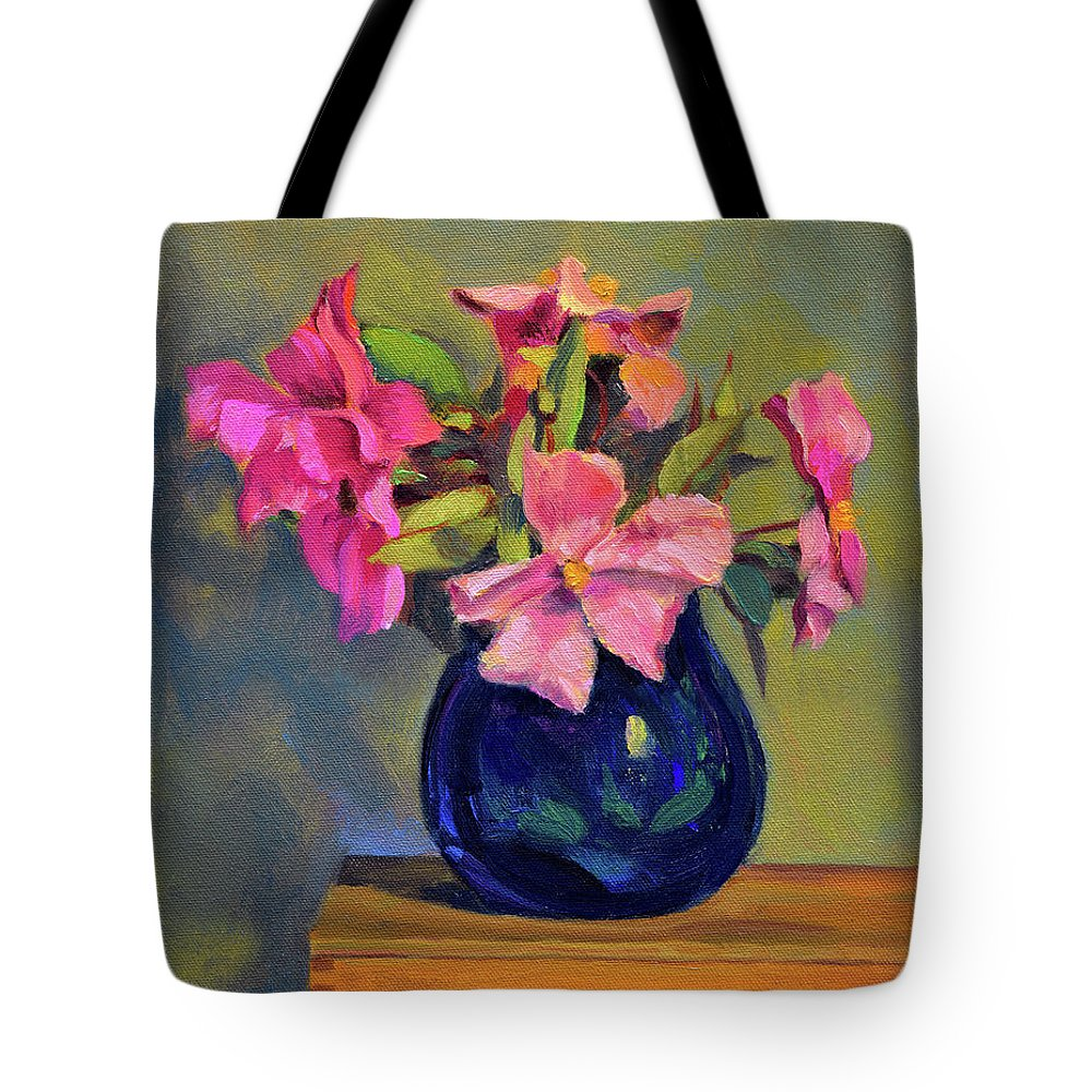 Still Tote Bag featuring the painting Butterfly Roses by Keith Burgess