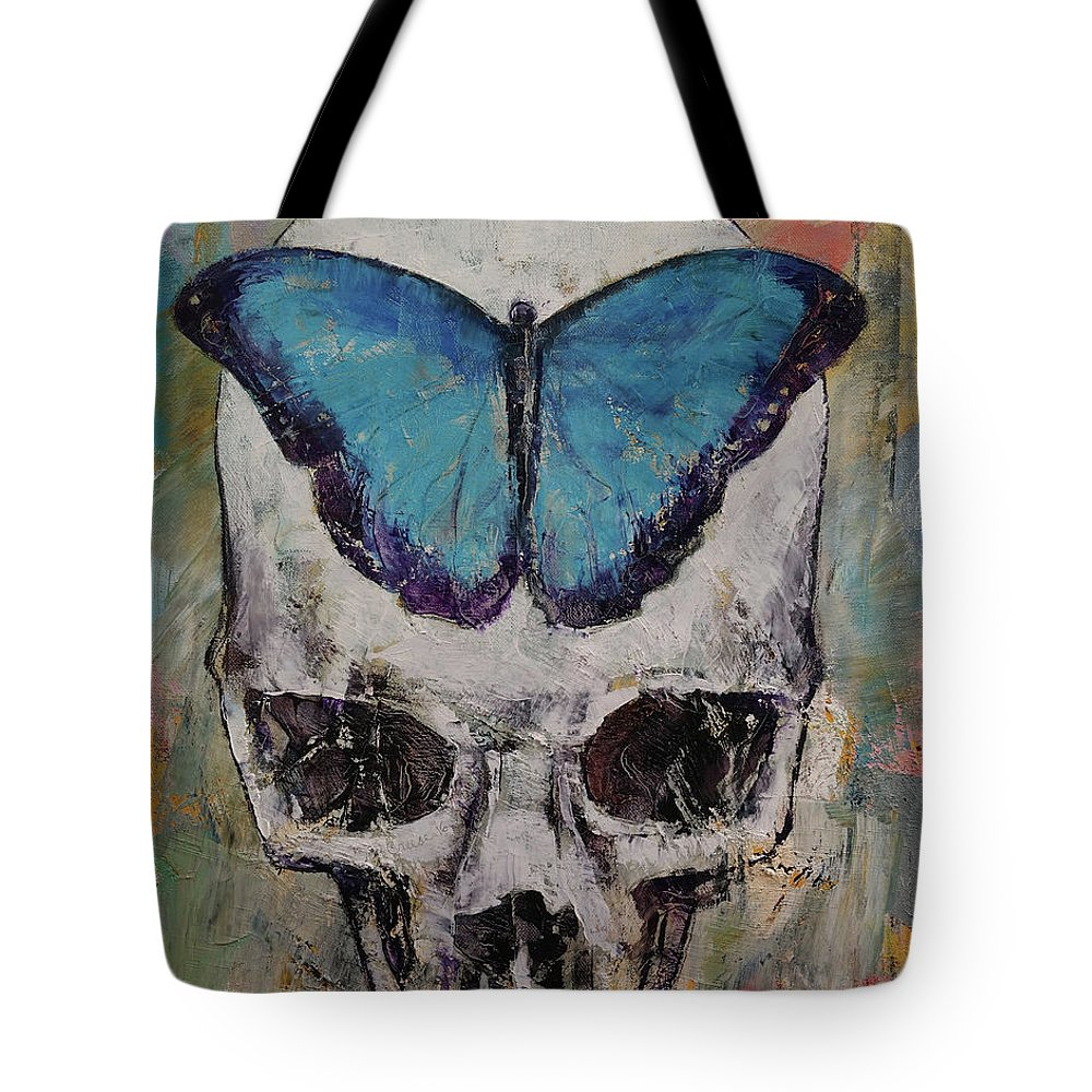Michael Creese Tote Bag featuring the painting Butterfly Skull by Michael Creese