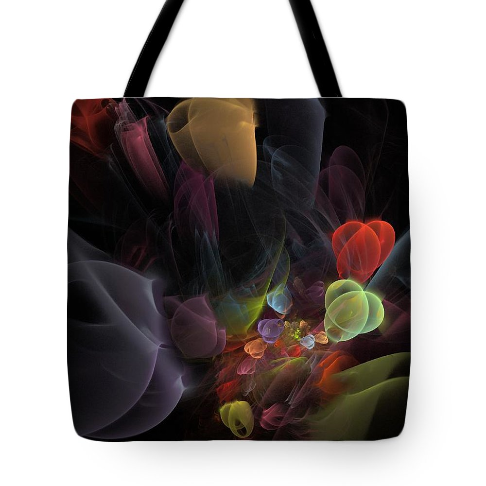Fantasy Tote Bag featuring the digital art Butterfly Tea - Fractal Art by NirvanaBlues