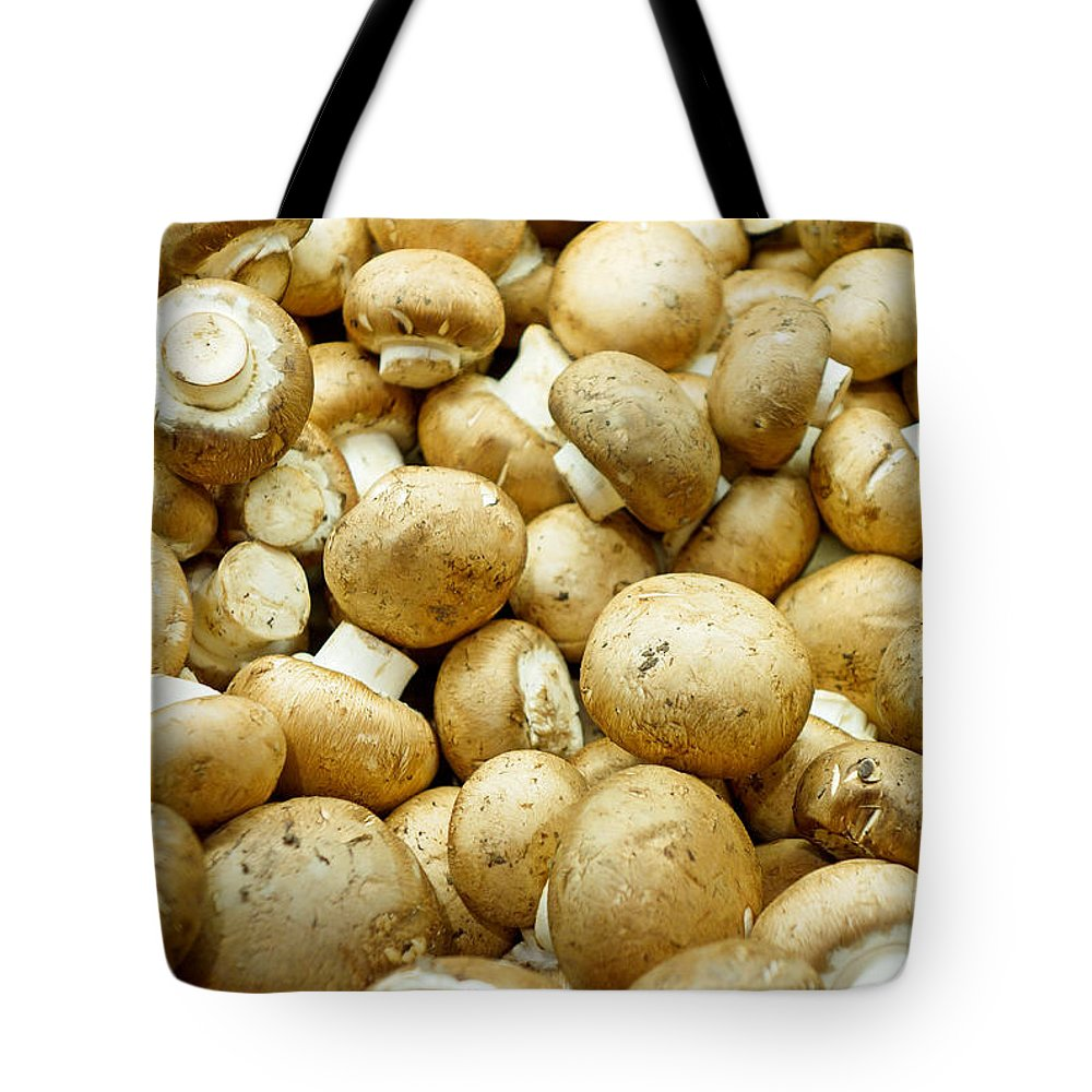 Button Mushrooms Tote Bag featuring the photograph Button Mushrooms by Robert Meyers-Lussier
