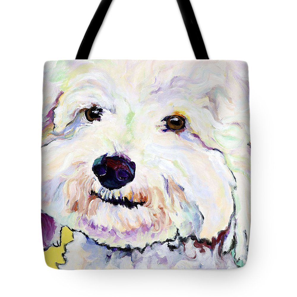 Bischon Tote Bag featuring the painting Buttons  by Pat Saunders-White