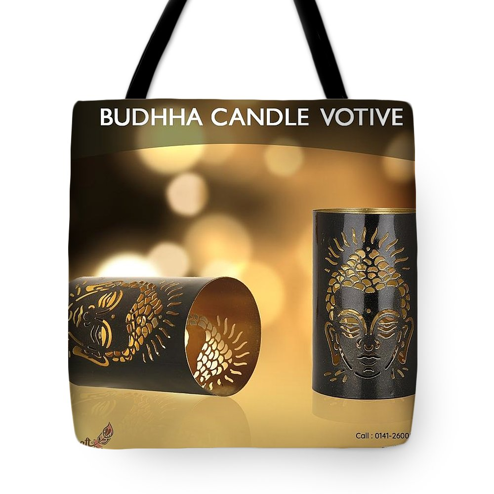 Home Decor Tote Bag featuring the photograph Buy Attractive Buddha Candle Votive From Rustik Craft by Sangeeta Sharma