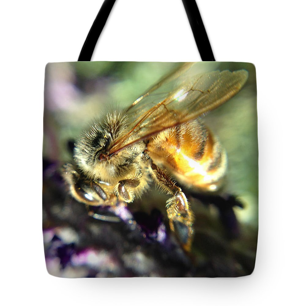 Bee Tote Bag featuring the photograph Buzz Off by Michelle Ngaire