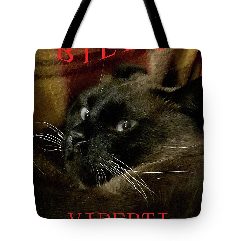 Cat Tote Bag featuring the digital art BV by Tila Gun