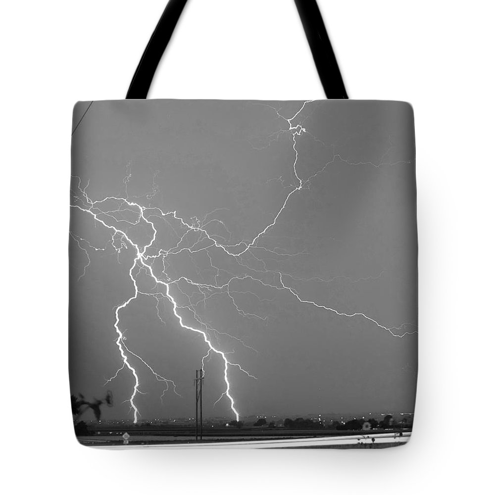 Lightning Tote Bag featuring the photograph Bw Lightning Highway Strikes Fine Art Print by James BO Insogna