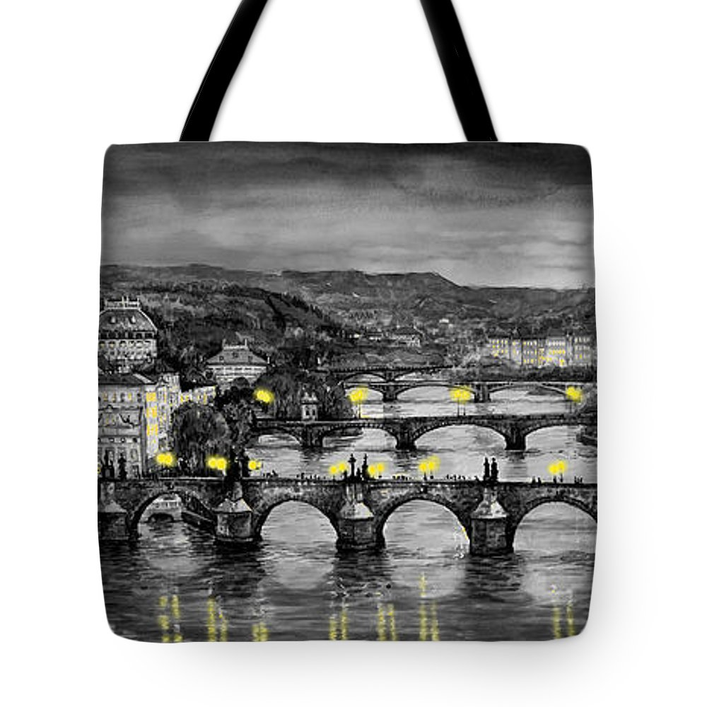 Prague Tote Bag featuring the painting Bw Prague Bridges by Yuriy Shevchuk