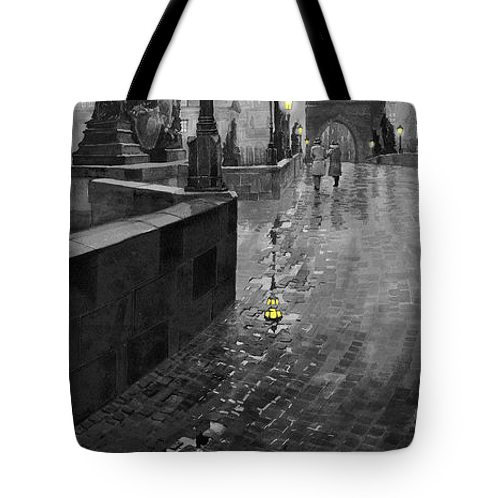 Prague Tote Bag featuring the painting Bw Prague Charles Bridge 01 by Yuriy Shevchuk