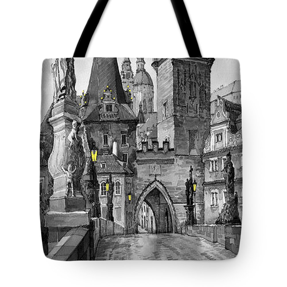 Prague Tote Bag featuring the painting Bw Prague Charles Bridge 02 by Yuriy Shevchuk