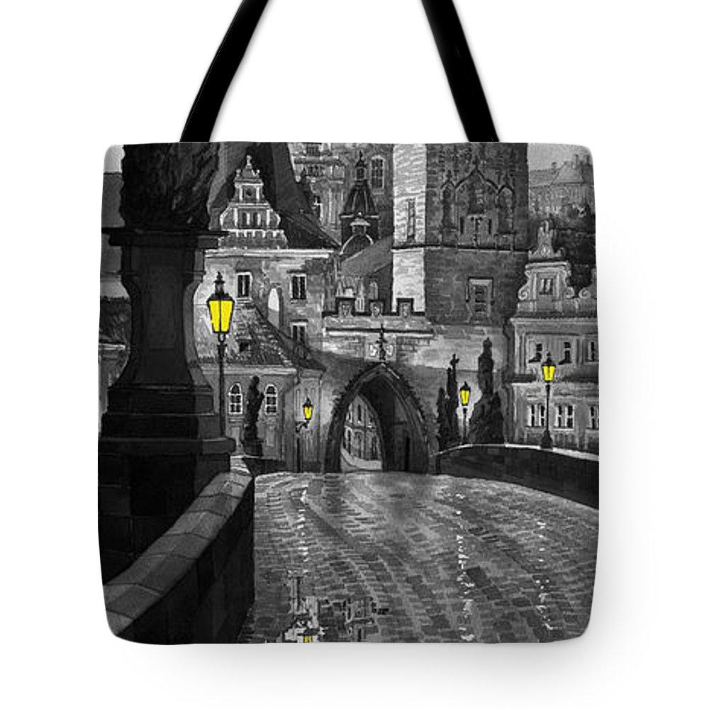 Prague Tote Bag featuring the painting Bw Prague Charles Bridge 03 by Yuriy Shevchuk