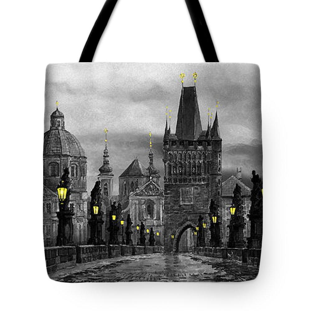 Prague Tote Bag featuring the painting Bw Prague Charles Bridge 04 by Yuriy Shevchuk