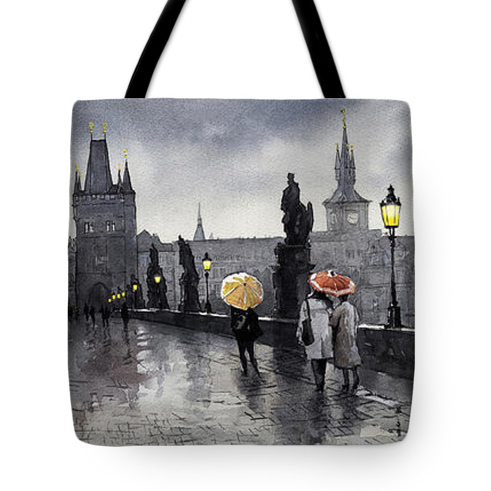 Prague Tote Bag featuring the painting Bw Prague Charles Bridge 05 by Yuriy Shevchuk
