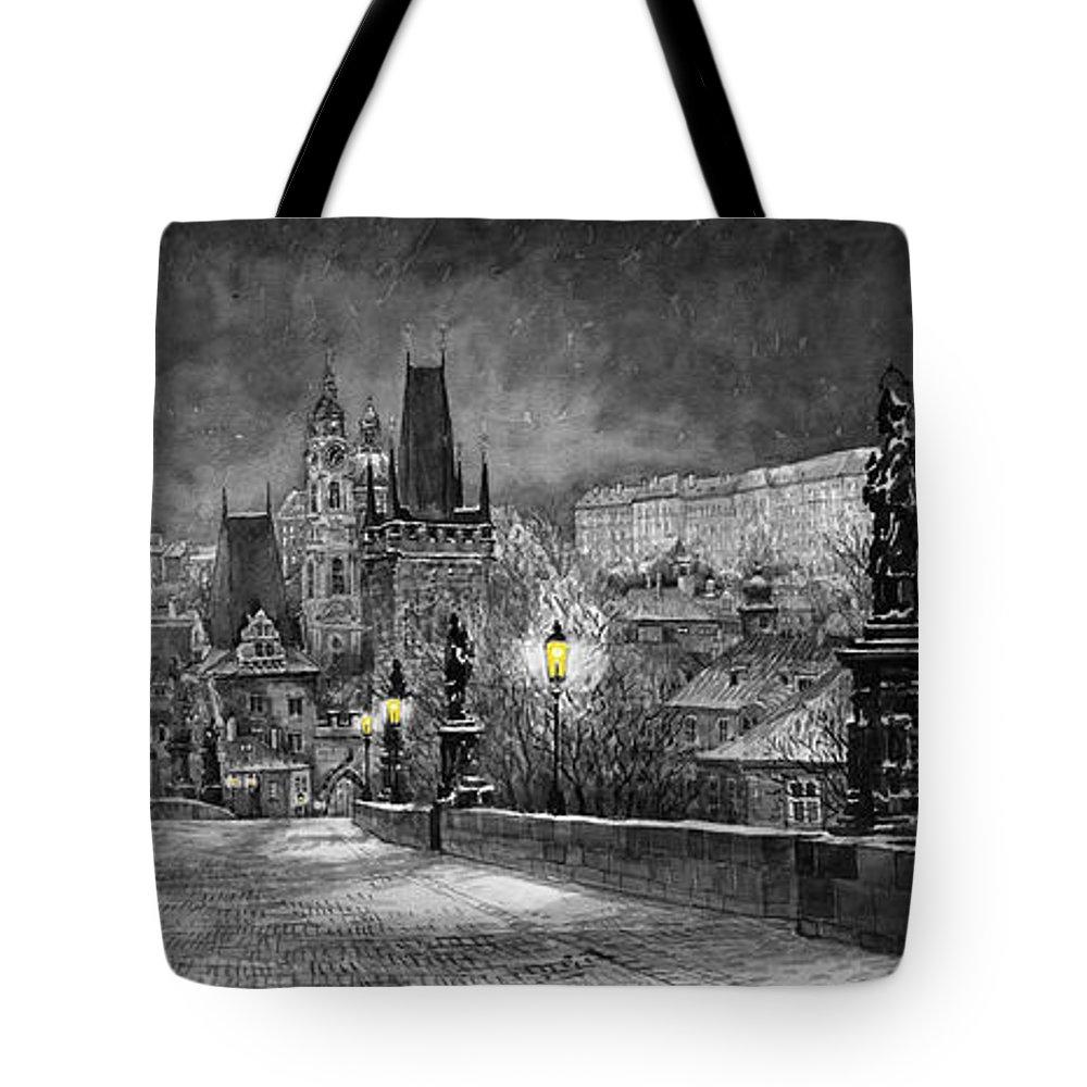 Prague Tote Bag featuring the painting Bw Prague Charles Bridge 06 by Yuriy Shevchuk