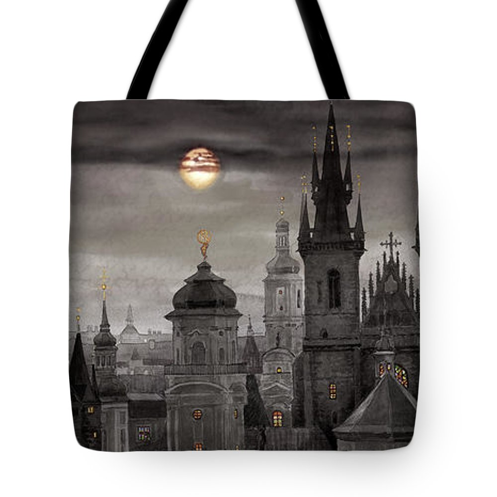Cityscape Tote Bag featuring the painting Bw Prague City Of Hundres Spiers by Yuriy Shevchuk