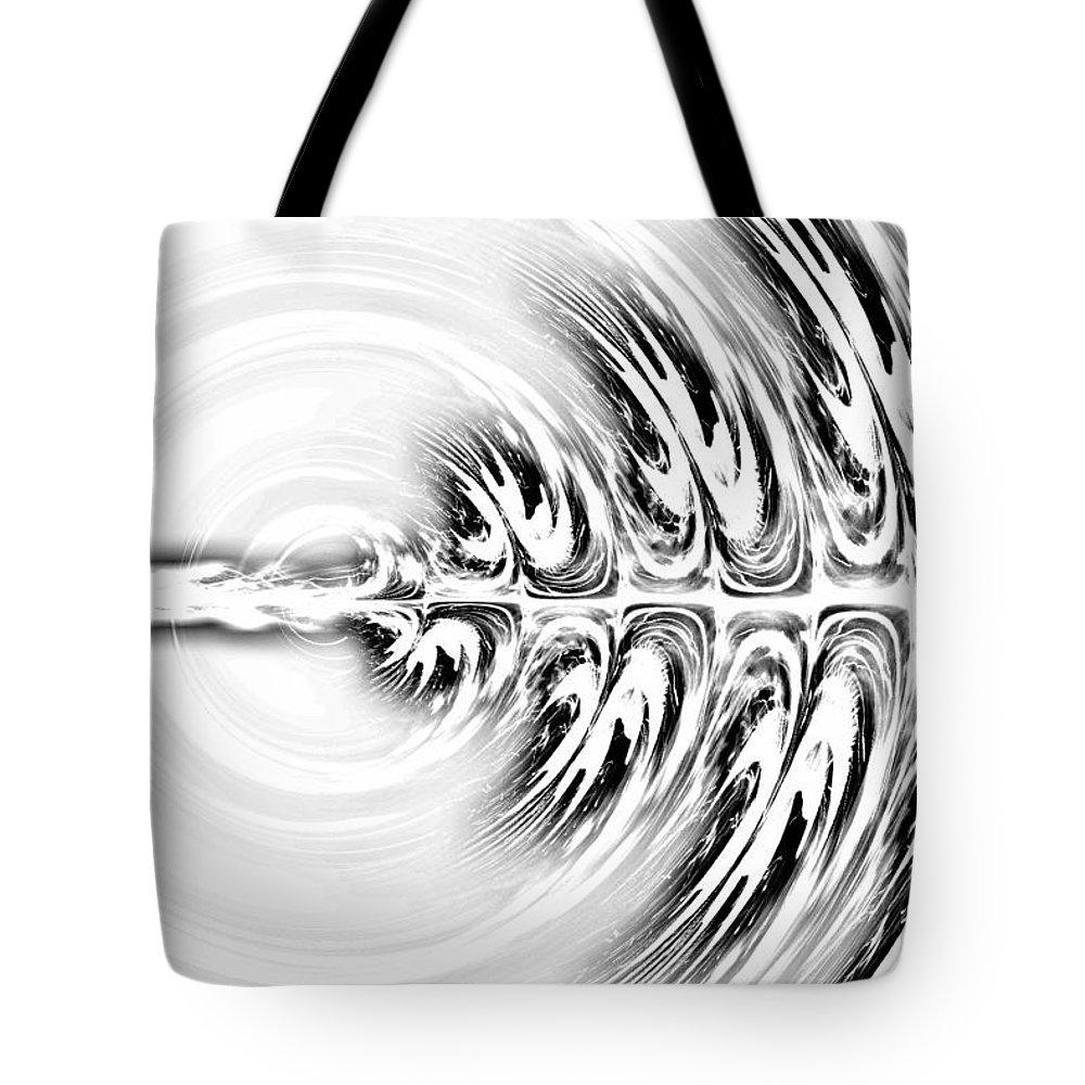 Black And White Lights Tote Bag featuring the digital art Black White Splendor by Rabecca Primeau
