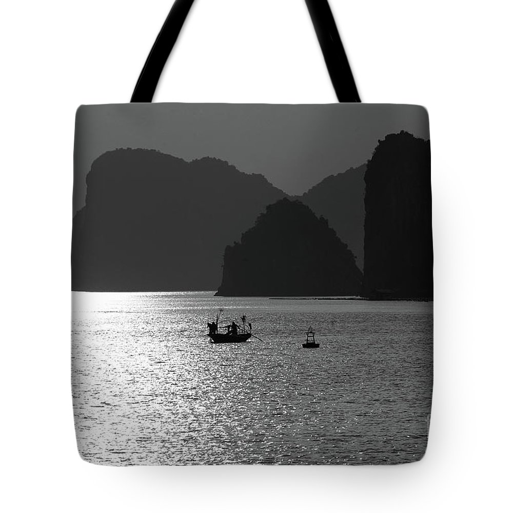 Asia Tote Bag featuring the photograph Bw Tones Ha Long Bay Vietnam by Chuck Kuhn