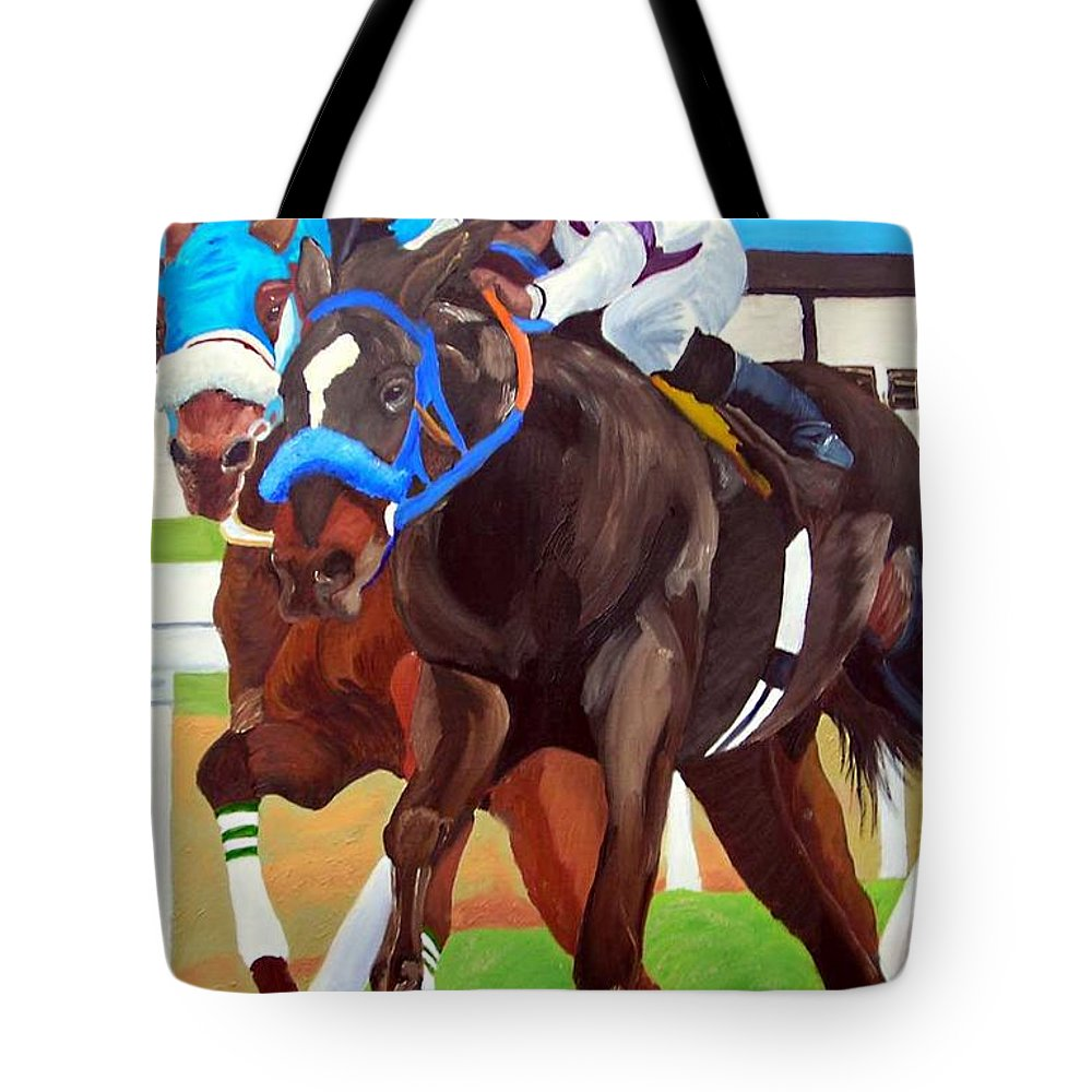 Horse Racing Tote Bag featuring the painting By A Nose by Michael Lee