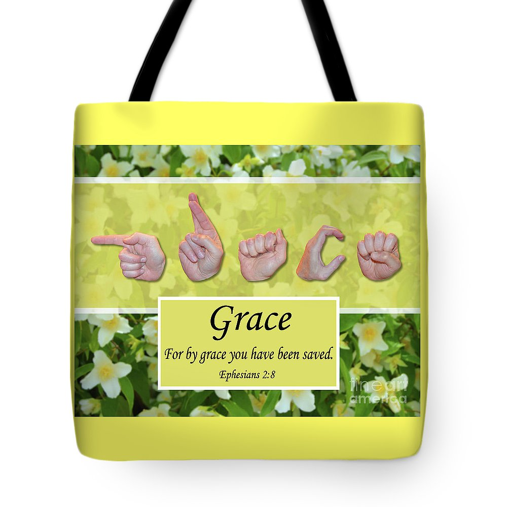 Christian Tote Bag featuring the photograph By Grace by Master's Hand Collection