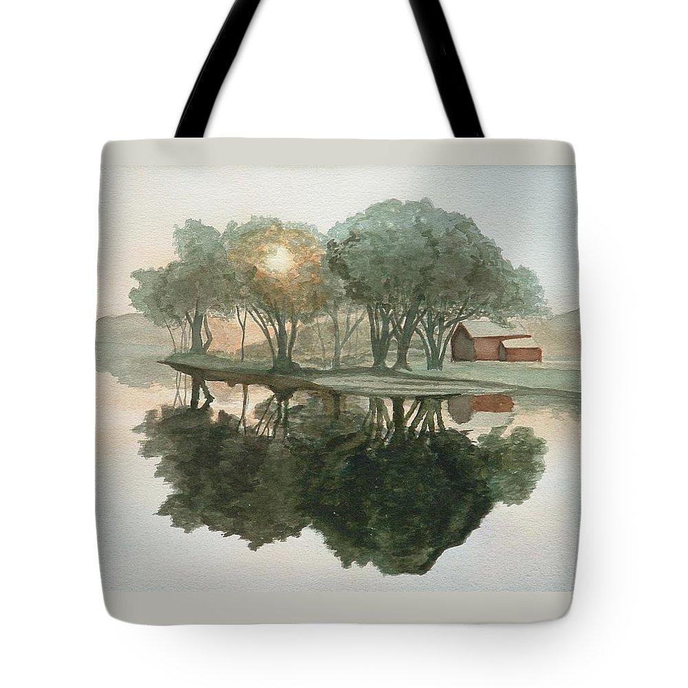 Landscape Tote Bag featuring the painting By The Ferry Dock by Lynn ACourt